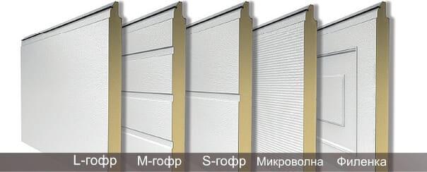 Секционные ворота (типы панелей)